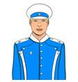 pop art flyer man in blue uniform imitation comic vector image vector image