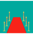 Red carpet and rope barrier golden stanchions vector image vector image