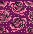 seamless pattern background with pink roses vector image vector image
