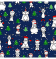 seamless pattern with child deercat and snowmen vector image vector image