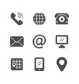 set icons of contact us vector image vector image