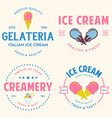 set of vintage ice cream shop logo badges and vector image vector image