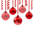 set red glass balls with serpentine for Merry vector image vector image