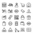 shopping icon set- black linear shopping symbol vector image