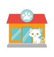 small cat yellow eyes pet shop facade paw print vector image vector image