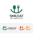 smile eat logo happy food vector image vector image
