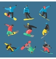Snowboarder jump in different pose on background vector image vector image