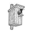 starling in birdhouse sketch vector image vector image