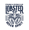 t-shirt diving club print with lobster vector image