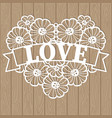 template for laser cutting the heart lace vector image