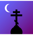 The Orthodox Cross at night vector image