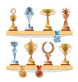 trophy collections on the shelf golden bronze vector image