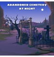 Vulture in an abandoned cemetery at night vector image