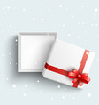 white present box with red ribbon bow open vector image vector image