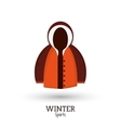 winter sport brown and orange jacket clothes vector image
