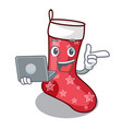 with laptop character christmas sock for vector image