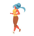 with young girl jogging vector image