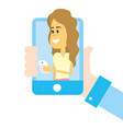 woman on social networks vector image