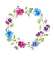 watercolor pansy flower wreath vector image