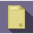 Medical recipe with hemp leaf icon flat style vector image