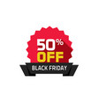 black friday sale label 50 percentage off special vector image