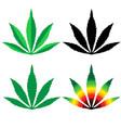 cannabis leaf flat design set - vector image