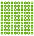 100 urban icons hexagon green vector image vector image