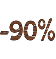 90 Wood percentage icon - isolated on the white vector image