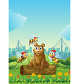 A big bear above the log with three bees vector image vector image