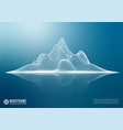 abstract wireframe mountain with reflection 3d vector image