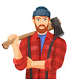 axeman with wooden axe isolated on white vector image vector image