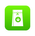 bag with cannabis icon digital green vector image vector image