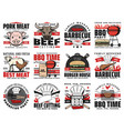 barbecue and grill meat bbq party icons vector image vector image