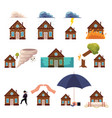 big set of house insurance cartoon style icons vector image