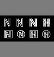 capital letter n modern set for monograms logos vector image