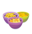 chipsfrench fries corn chips in color bowls vector image