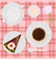 coffee with milk and cake on table vector image vector image