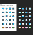 computer part icons light and dark theme vector image