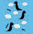 cute abstract black dinosaurs vector image