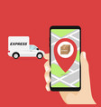 delivery service app on mobile phone in hand vector image vector image