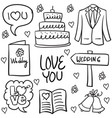 doodle of wedding various element hand draw vector image vector image