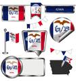 Glossy icons with Iowan flag vector image vector image