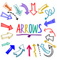 hand drawn colorful arrow set doodle vector image vector image
