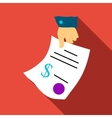 Hand gives contract icon flat style vector image
