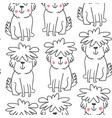 handdrawn seamless pattern with doodle dogs vector image