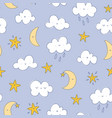 happy cartoon clouds moon and stars pattern vector image vector image