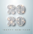 happy new year banner with silver 2020 numbers on vector image