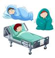 Kids being sick in bed vector image