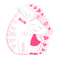little girl with big plump cat vector image