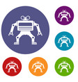 machine icons set vector image vector image